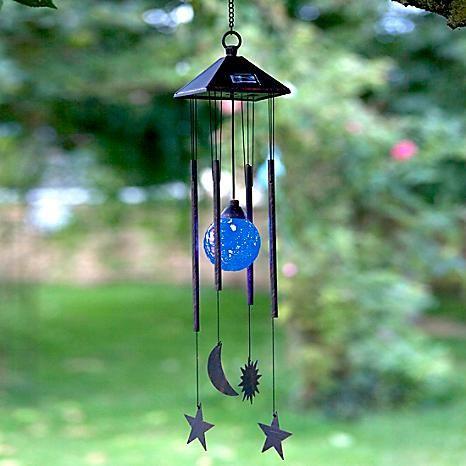 Solar Powered Sun, Moon & Star Wind Chime Light #Kaleidoscope #garden