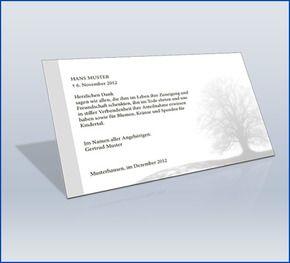 Dankeskarte Trauer 'Baum mit Trauerrand Grau'