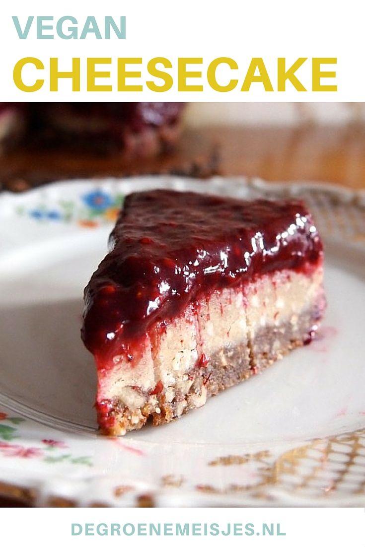 Heerlijk recept voor vegan cheesecake. Lekker met rood fruit, ananas of mango. Het recept lees je op de blog.