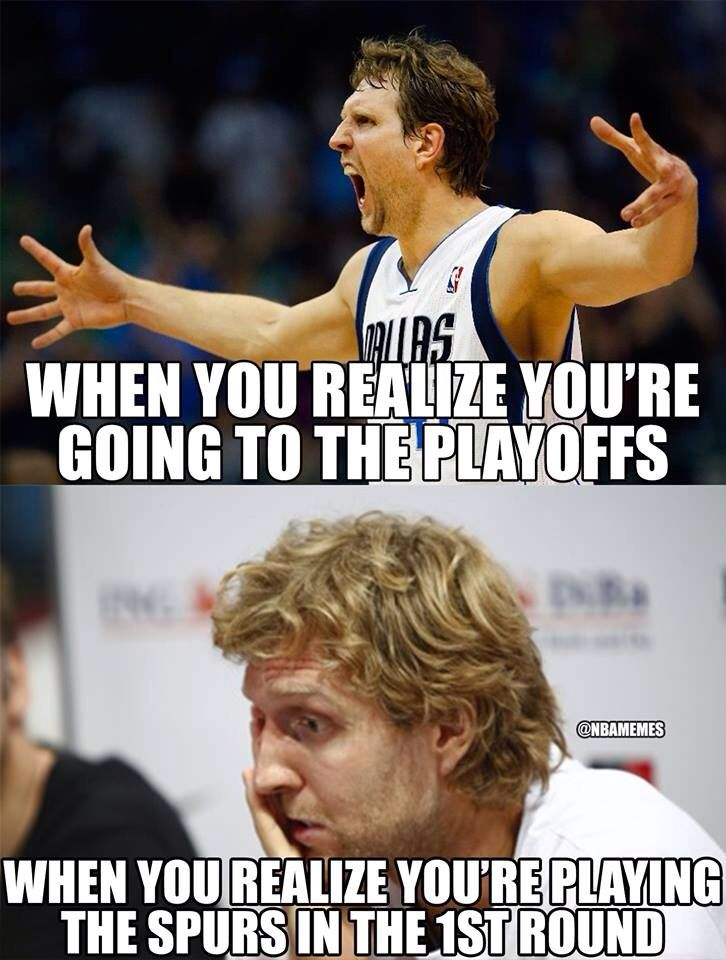 Dirk Nowitzki, Mavericks vs Spurs, NBA Playoffs meme