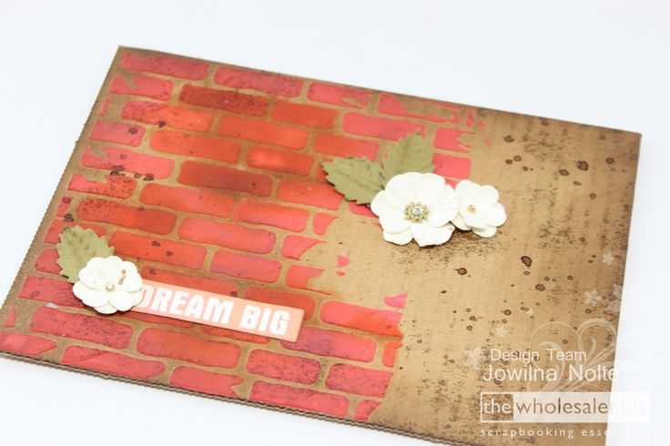 I used this beautiful, brick stencil from Kaisercraft combined with some of my other favourite inks and mediums. Here's how I created this look.