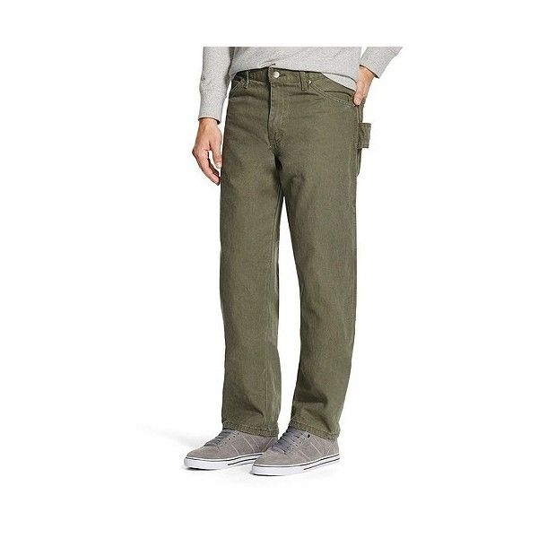 Dickies Men's Relaxed Straight Fit Sanded Duck Canvas Carpenter Jean- ($35) ❤ liked on Polyvore featuring men's fashion, men's clothing, men's jeans, green, mens straight jeans, mens distressed jeans, mens relaxed boot cut jeans, mens relaxed fit jeans and mens green jeans