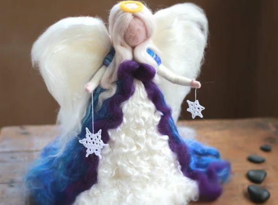 "Needle felted 12"" Waldorf Tree Top Angel, Christmas, Heirloom, Tree Topper…"
