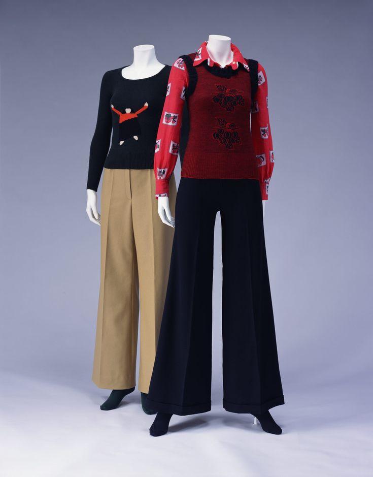 Sweater [Left] Sonia Rykiel c. 1971, Blouse and Vest [Right] Sonia Rykiel 1972 (blouse), 1974 (vest)
