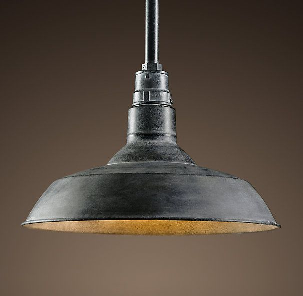 Vintage Barn Pendant Weathered Zinc: A reproduction of an enamel pendant that's been a fixture – literally – in barns across the country for the last century