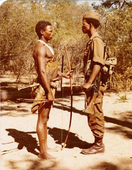 Bushmen or San people were excellent trackers and were used by the South African military as trackers during the Angola Border War.