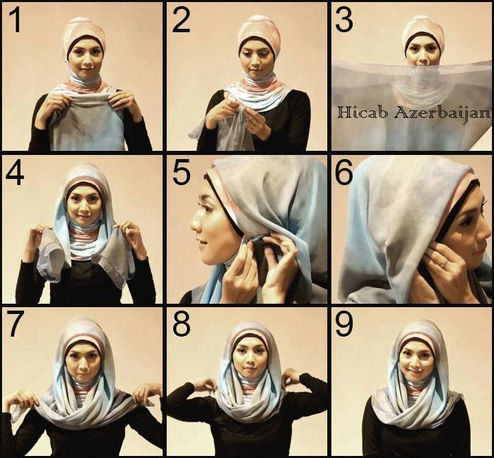 Square Scarf Hijab Tutorial  You will need an underscarf to use with your square scarf, so choose the right colors to be well matched, you will also need some pins.  Fold your square scarf as a triangle,  Place it on your head,  Pin the sides to well fix it.  Bring the two sides ends then you can either join them together behind or pin them on your shoulders.