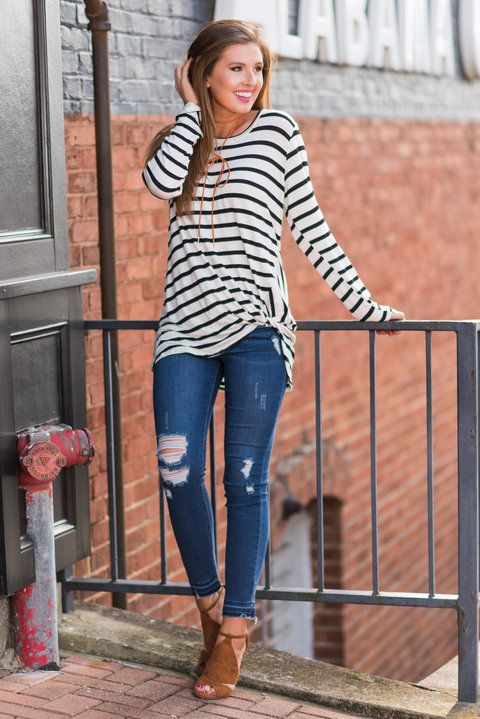 """""""So Into You Top, White""""If you are totally into this top, you are aren't the only one! This black and white striped top is amazing! #newarrivals #shopthemint"""