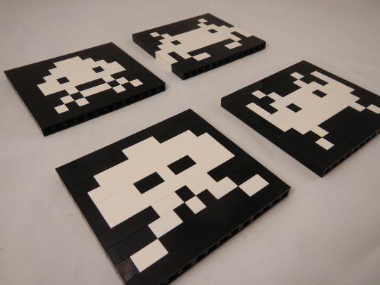 Space Invaders Retro LEGO Coasters Set