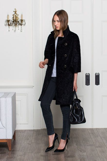 Italian V Heel - Pony Hair | Emerson Fry: Black Coats, Ef Outlet, Style, Emerson Fry, Coats Jackets, Bracelet Sleeves, Winter Coats, Fry Faux