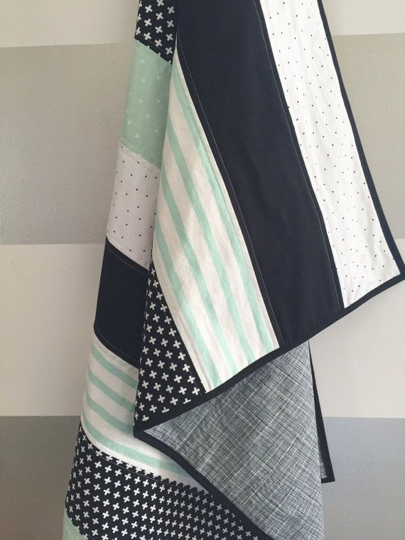 Mint black white baby toddler quilt gender by WilderAndBean