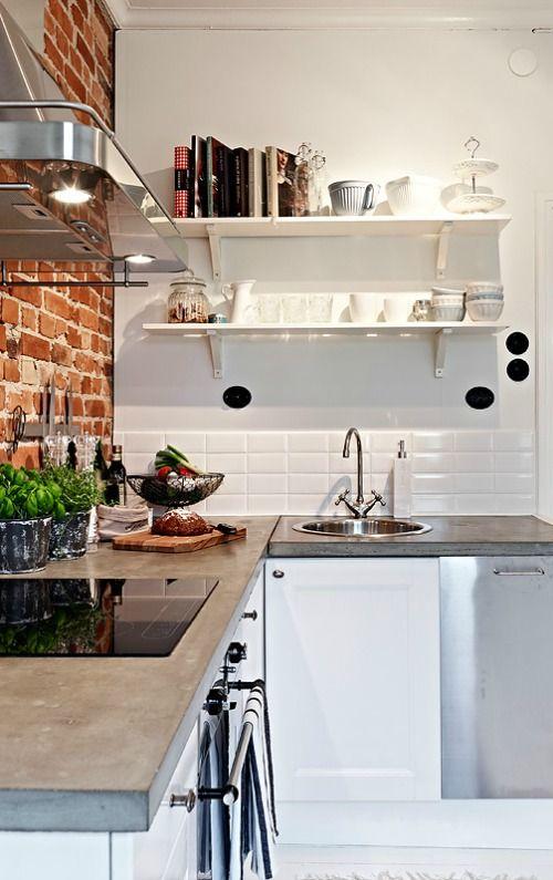 Krijtbord Keuken Ikea : Exposed Brick Kitchen Wall Subway Tiles