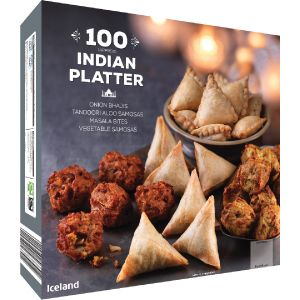 Iceland 100 (Approx.) Indian Platter 1.7Kg | Party Food & Desserts | Frozen | Iceland