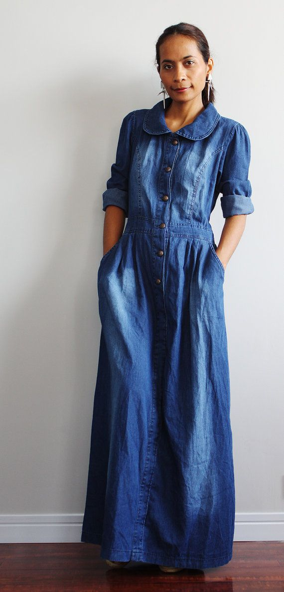 Denim Maxi Dress  Long Sleeved Dress   Urban Chic by Nuichan, $55.00 (Vintage Top Outfit)