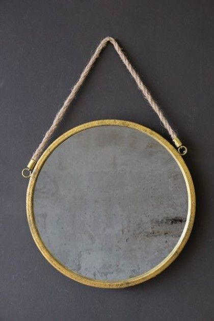 Gold Leaf Effect Ship's Mirror with Rope