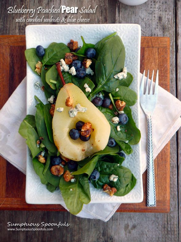 Blueberry Poached Pear Salad with Candied Walnuts, Blue Cheese and a Raspberry Malbec Vinaigrette ~ Sumptuous Spoonfuls #gourmet #salad #recipe