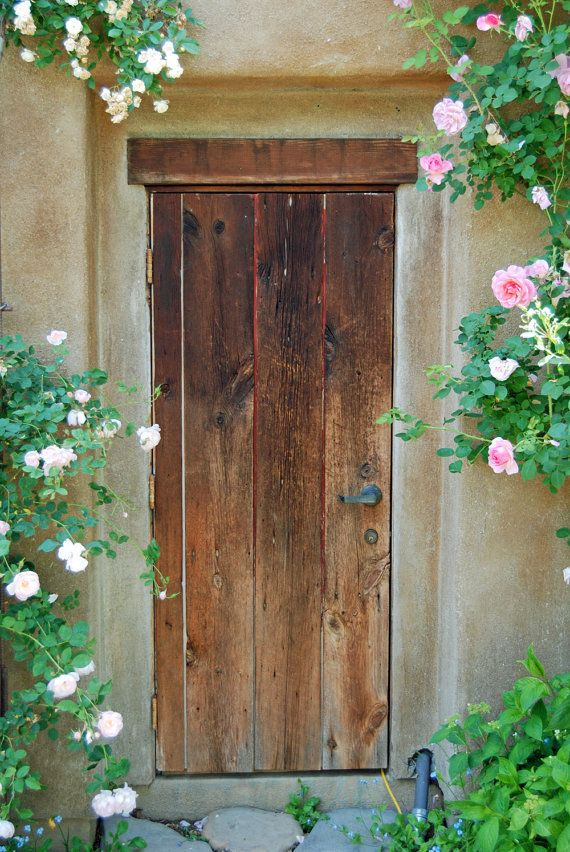 Cottage Door - English Cottage-Rose Cottage--Fine Art Photography-35X24 Gallery Wrap Canvas Giclee via Etsy