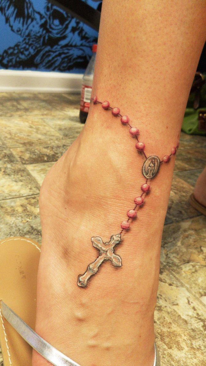 rosary tattoo cross beads