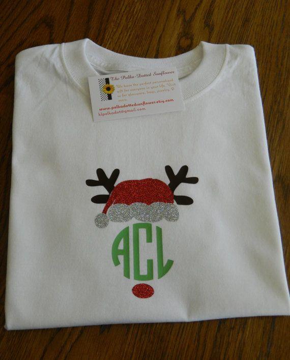Monogrammed Rudolph Santa Shirts by PolkaDottedSunflower on Etsy