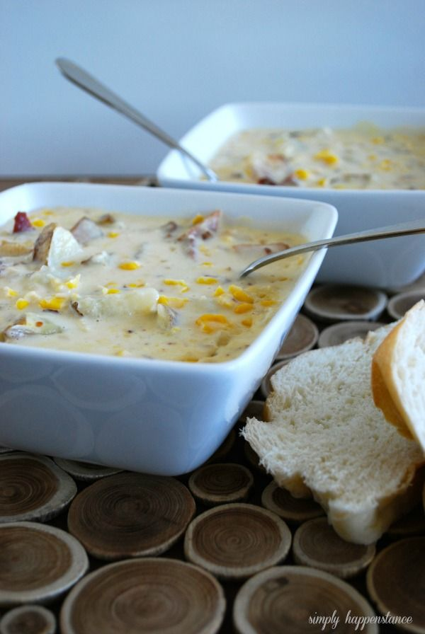 Creamy Corn Chowder Recipe! Perfect dinner served with warm crusty french bread and a side salad!