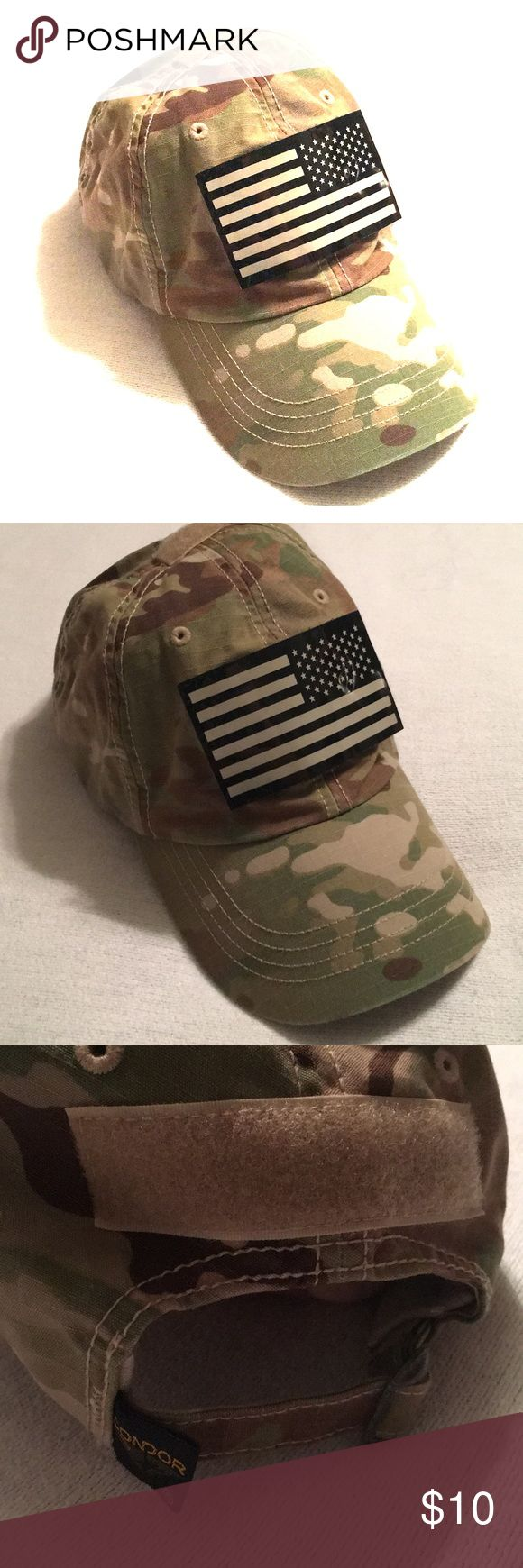 Condor Multicam USA Camo Baseball Hat BRAND: Condor SIZE: OS CONDITION: 9/10 DAMAGE/WEAR: None COLOR: Camo  Nice baseball style cap. Army multicam pattern with velcro IR American Flag patch. Great for hunting or casual wear. Flag patch is removable. Camo tabs are clean and debris free. Adjustable fit. No holes, odors or stains. Smoke & pet free. Condor Accessories Hats