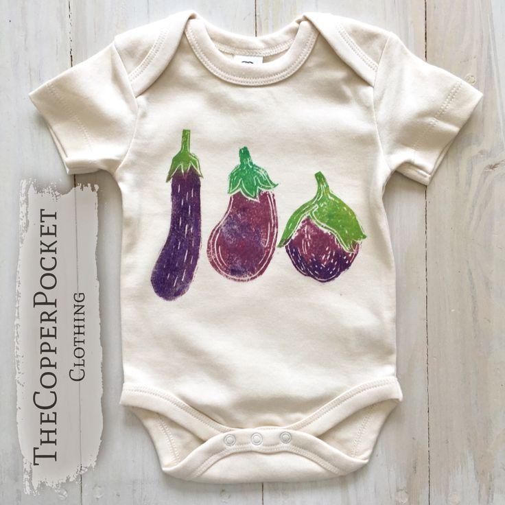 Funny baby onesie bodysuit fall winter eggplant vegan