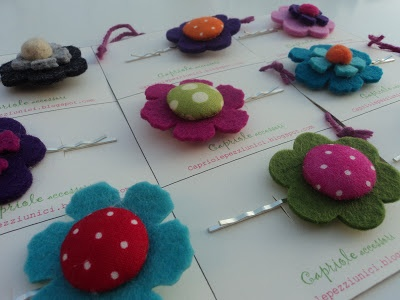 hair pin with felt flower and fabric button