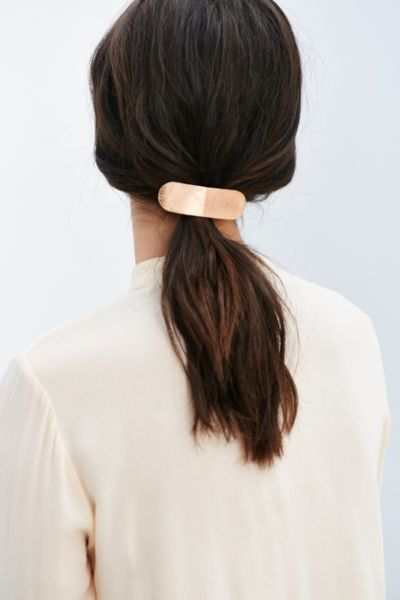 brushed metal barrette.