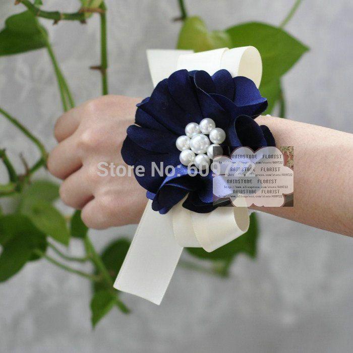 Prom Stof 10 stks Parel Boutonniere Wedding Decor Kunstmatige Rose Pols Corsage Bloem Armband Donkerblauw FL1553