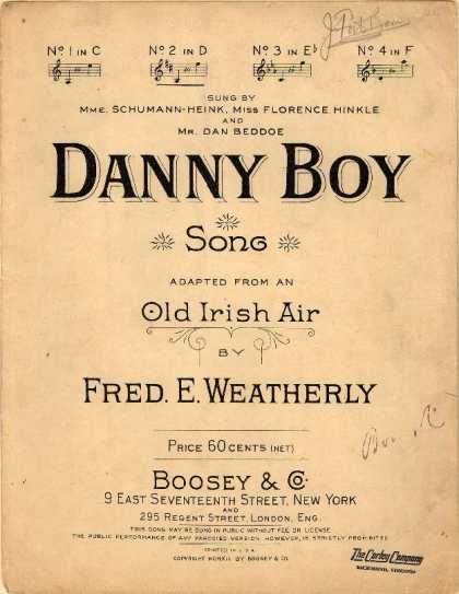 Sheet Music - Danny boy; Old Irish air