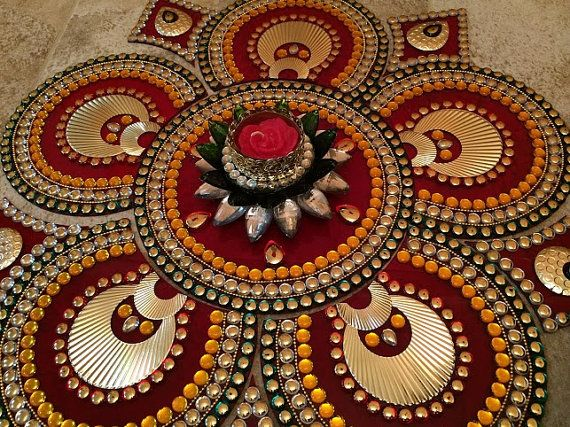 Sunflower Rangoli Elegant Rangoli Indian by JustForElegance, $39.00