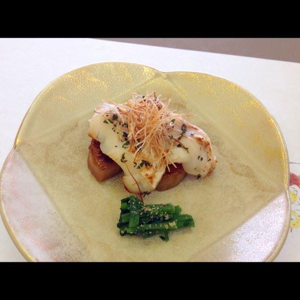 甘鯛若狭焼き 筍桑焼き、クレソン胡麻浸し at 日本料理 八幸 http://www.hachiko73.co.jp/