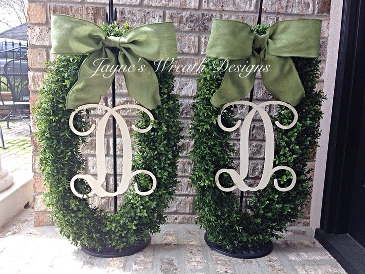 Large Oval Boxwood Wreaths for double doors, with Single Vine Letters and Green Burlap Bows. Great for Spring, Summer or as all year wreaths! Jayne's Wreath Designs on fb and Instagram