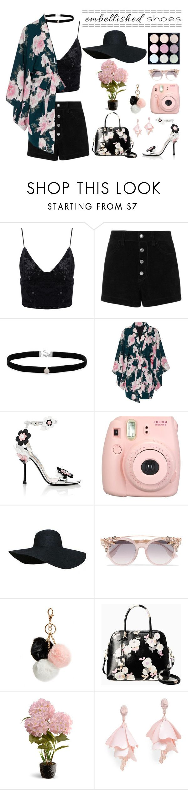 """Embellished Shoes"" by aridhina ❤ liked on Polyvore featuring rag & bone/JEAN, Amanda Rose Collection, Fleur du Mal, Prada, Fujifilm, Jimmy Choo, GUESS, Kate Spade, National Tree Company and Oscar de la Renta Pink Label"