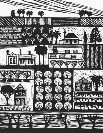 Midlura farms lino cut by Anita Laurence