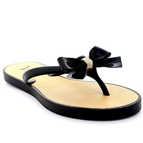 Womens Slip On Sandals Summer Festival Bow Vacation Diamante Flip Flops - Black - 9 - 40 - CD0087 Viva http://www.amazon.com/dp/B00SBEZRGO/ref=cm_sw_r_pi_dp_iHivvb0EXVNBR