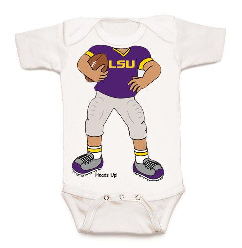 LSU Tigers Heads Up Football Baby Bodysuit by FutureTailgater