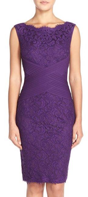 sleek purple lace sheath dress