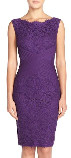 sleek purple lace sheath dress