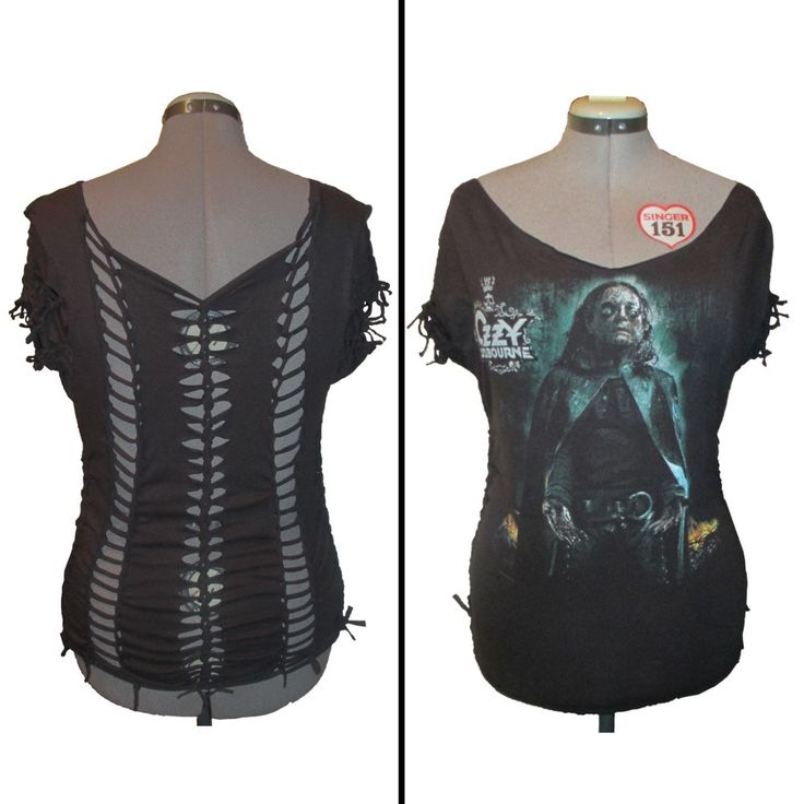 Ozzy Osbourne  Black Rain Slashed Cut and Weaved Band T Shirt by Rebeltude on Etsy