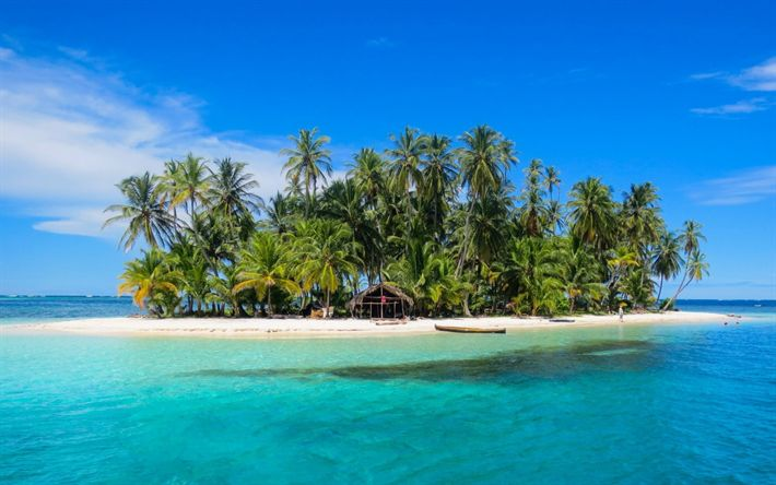 Download wallpapers small tropical island, palms, ocean, summer, beach, travel