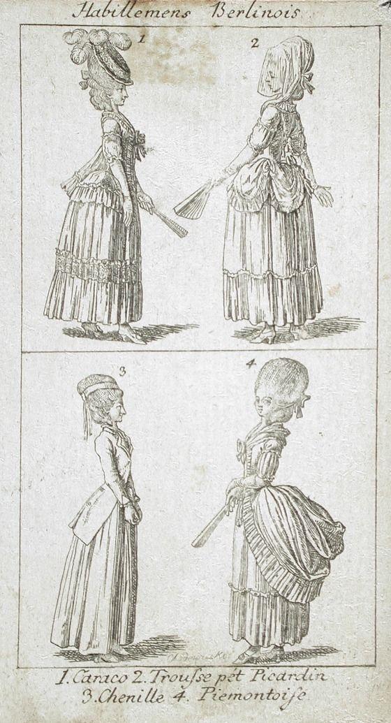 """Habillemens Berlinois,"" fashion plate, etching, c. 1779, German."