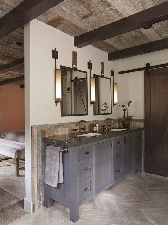 Bathroom Design, Fascinating Rustic Ensuite Bathroom Design With Gray Modern Wooden Vanity And Dark Gray Marble Sink Top Also White Small Mo...