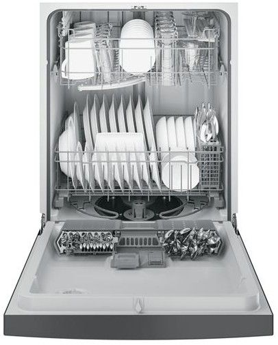 """GDF520PSJSS GE Dishwasher with Front Controls & Steam PreWash - Stainless Steel  Has silverware in the door and has a """"Piranha™ hard food disposer with removable filter To ensure consistently clean items, this stainless steel blade rotates at 3,600 RPM to pulverize food particles and helps to prevent large particles from clogging the wash arms"""""""