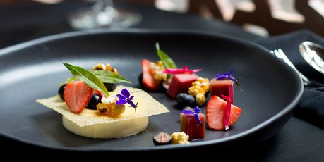 Want to go here!  Lemon verbena cream, rhubarb, popcorn and berries dessert from Milse in Britomart. Photo / Babiche Martens