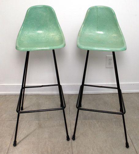 Vintage Eames Era Mid Century Molded Fiberglass Plastic Bar Stools Chairs