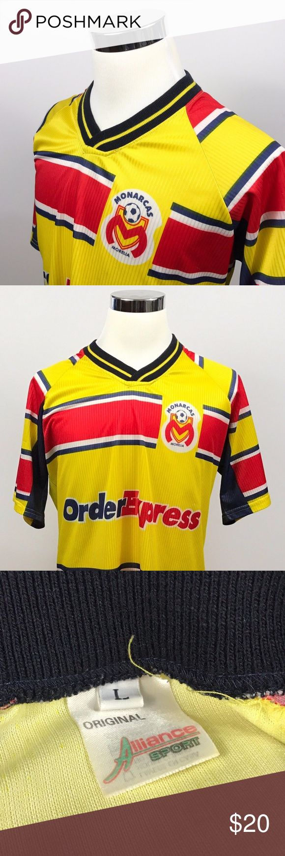 Monarcas Morelia Football Club Large Soccer Jersey Monarcas Morelia Football Club Mens Large Soccer Jersey Blue Gold Red Alliance   Measurements (inches): Pit to Pit (across the chest): 24 Sleeve (shoulder seam to cuff): 9  Length (top of collar to hem): 30  Condition:  This item is in good pre-owned condition! Free from rips & stains.  All items come from a smoke/ pet free environment. Morelia Shirts Tees - Short Sleeve