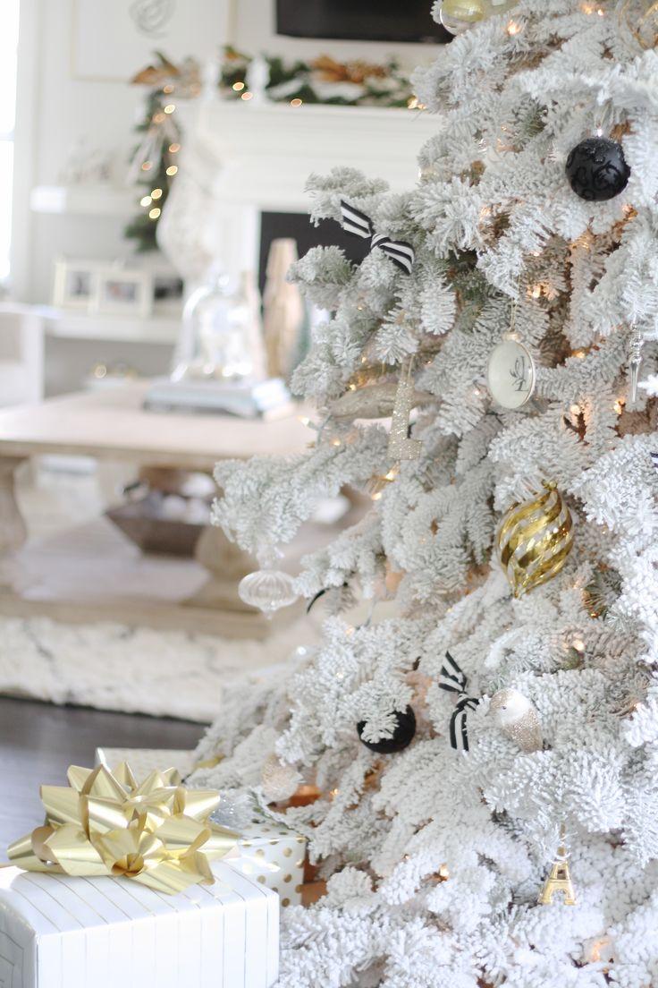 Rebecca Minkoff Inspiration - White flocked christmas tree — The Doctor's Closet