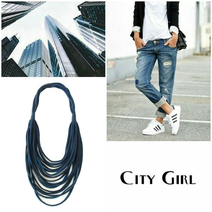 Street mood #moodboard #getinspired  Match this multi strand necklace with a pair of denim and sneakers for a great #streetstyle!......#recycleyourtshirt #etsy #blue #necklace #scarves #handmade #autumn #brand #design