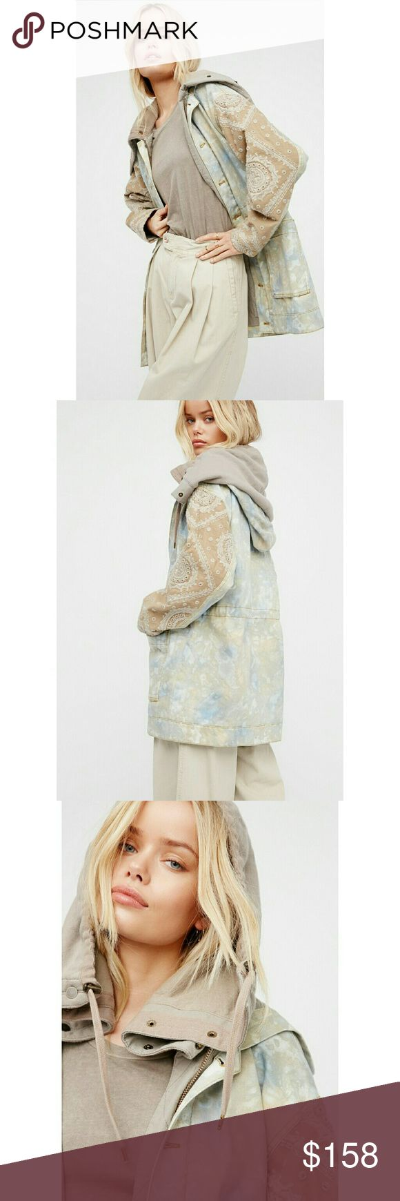 NWT, Free People Layered Tie Dye Parka Jacket Boho-inspired tie dye parka featuring beautiful embroidery along the sleeves and an effortlessly layered look with a doubled hood detail. Drawstring at the waist Front button and zipper closures Two large front pockets Lined 100% Cotton Machine Wash Cold Imported BNWTA Free People Jackets & Coats